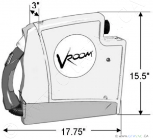 Vroom Central Vac 18ft Unit Dimension specification