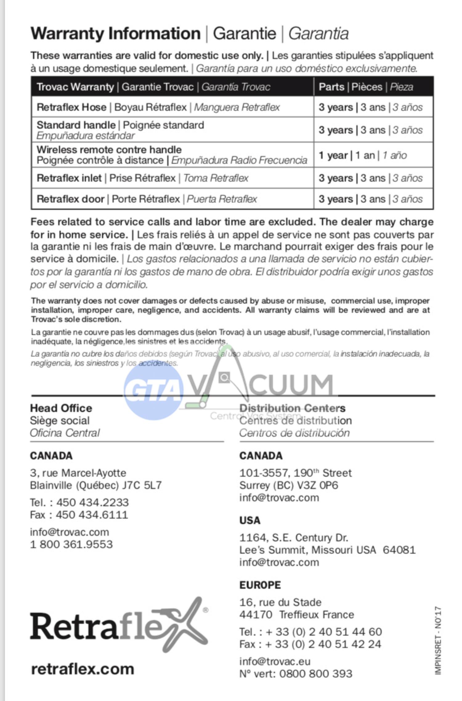 Retraflex Warranty